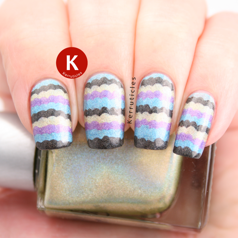 Holographic ruffle nail art by Claire Kerr