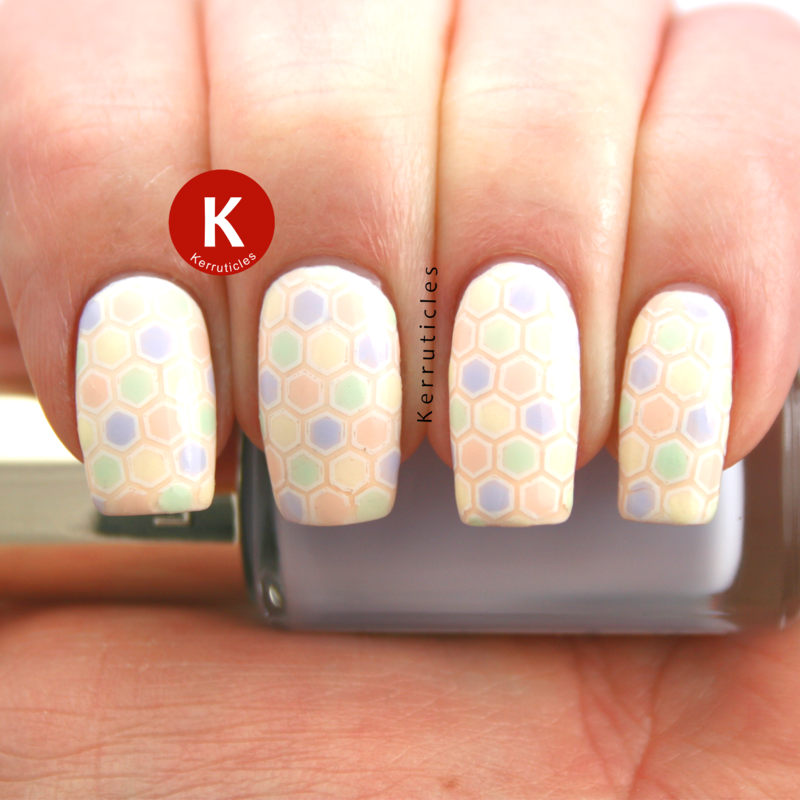 Pastel stamping decal using L'Oréal Les Blancs nail art by Claire Kerr