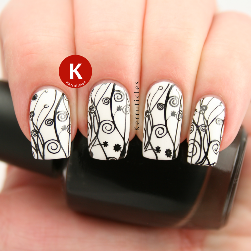 Black and White Floral Stamping nail art by Claire Kerr
