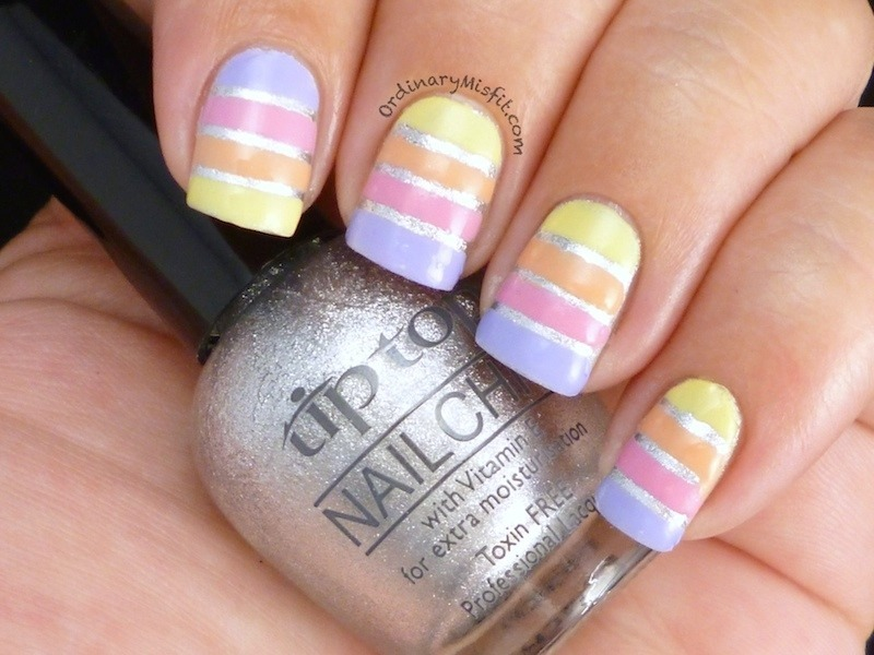 Easter pastel stripes nail art by Michelle