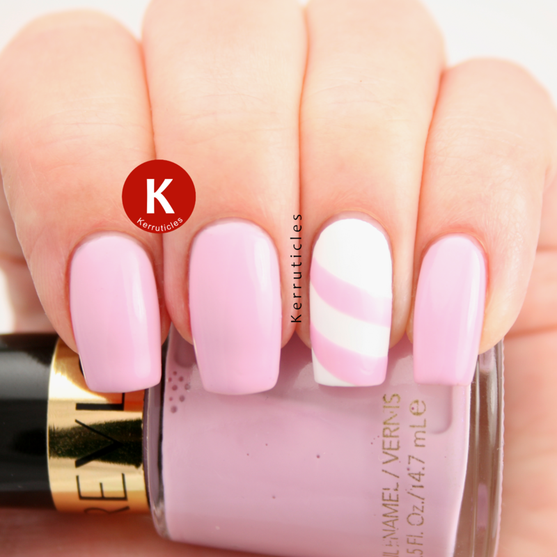 Revlon Lilac Pastelle with a lined accent nail art by Claire Kerr