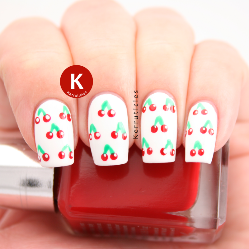 Cherries nail art by Claire Kerr