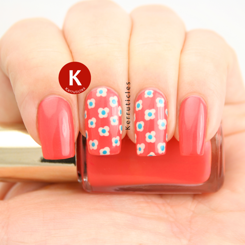 Coral and turquoise flowers nail art by Claire Kerr