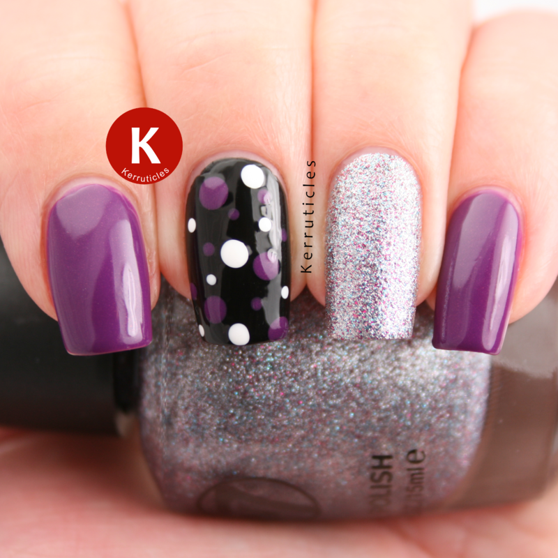 Purple, silver and black skittlette nail art by Claire Kerr ...