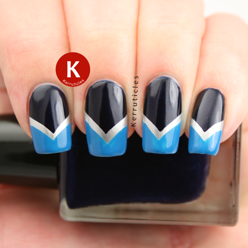 Navy, silver and blue fishtail chevrons nail art by Claire Kerr