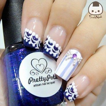 Ribbon and Lace nail art by sushinails