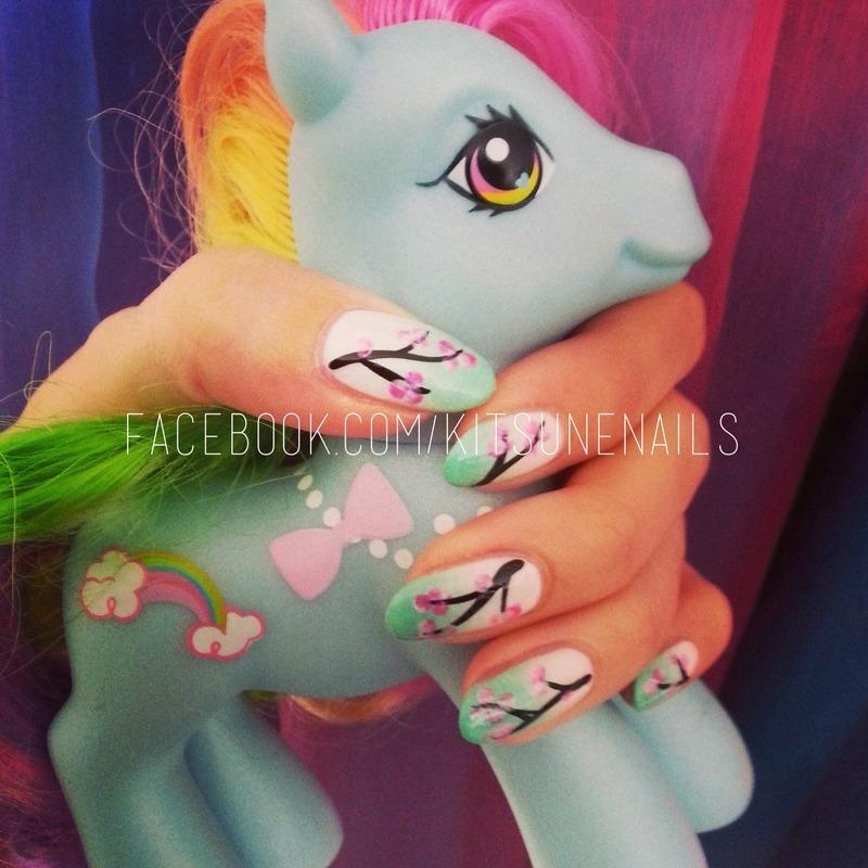 Blossom nail art by KitsuneNails
