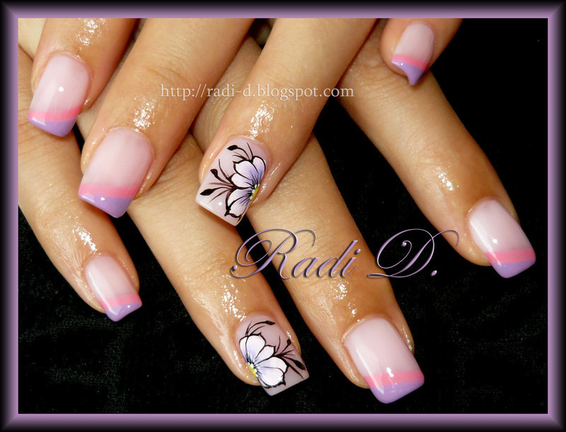 Two coloured diagonal french and Flowers nail art by Radi Dimitrova