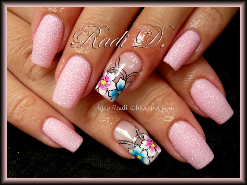 Pink like candy- floss nail art by Radi Dimitrova