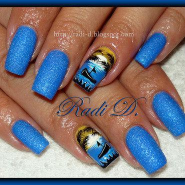 Blue Sand and Seaside nail art by Radi Dimitrova