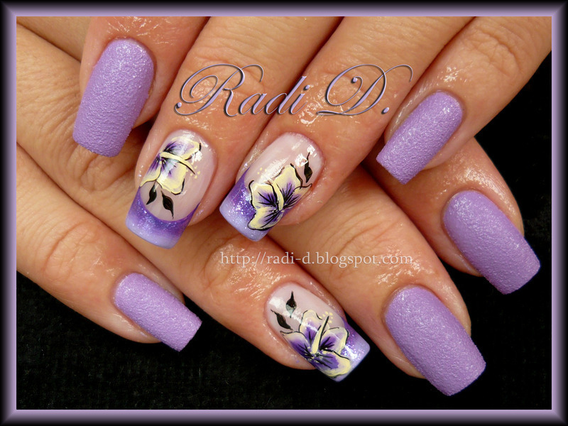 Lilac Sand One Stroke Flowers Nail Art By Radi Dimitrova