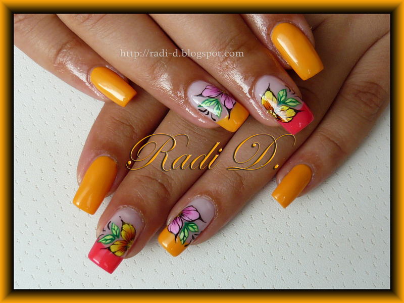 Yellow Sub- Mandarin nail art by Radi Dimitrova