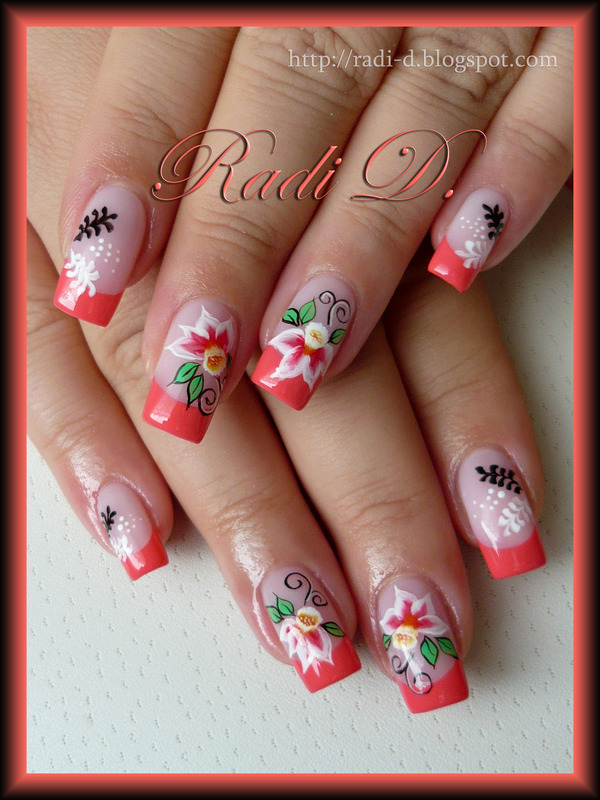 French and Flowers nail art by Radi Dimitrova