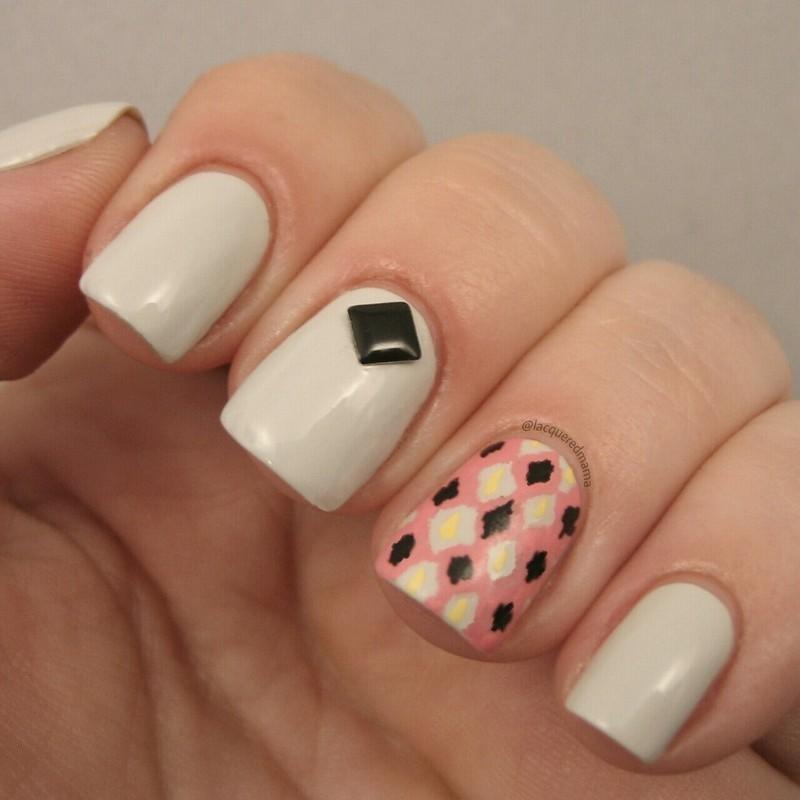 Funky Ikat Pattern nail art by Jennifer Collins