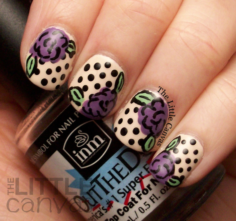 Retro Rose Nail Art nail art by The Little Canvas