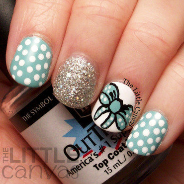 Bow and Polka Dot Nails nail art by The Little Canvas
