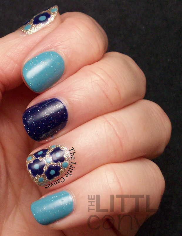 Glittery Dot Flower nail art by The Little Canvas