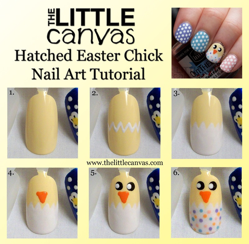 Easter Chick Tutorial nail art by The Little Canvas
