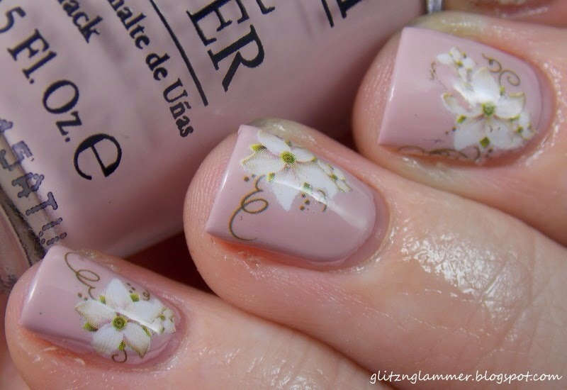 Simple Flower Decal nail art by Glitznglammer
