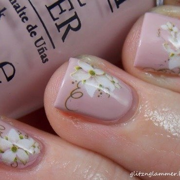 Simple Flower Decal nail art by Glitznglammer