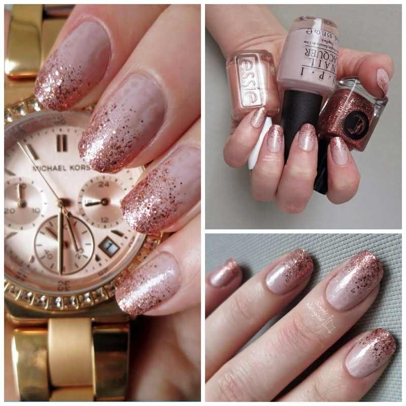 Rose gold glitter gradient & Michael Kors nail art by ...