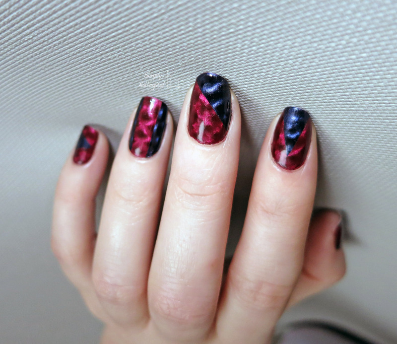 Magnetic colour block nail art by simplynailogical