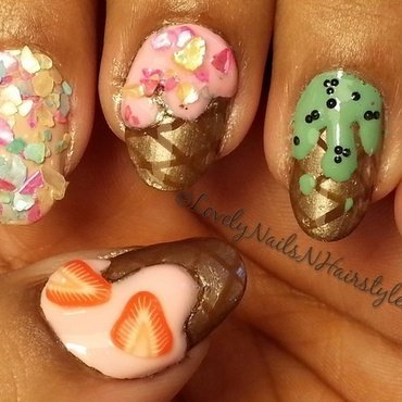 3-D Icecream Nails nail art by Lovely Mishra