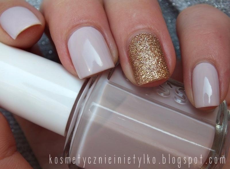 Essie + gold glitter nail art by Karola