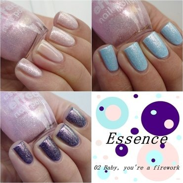 Gabriella Salvete #101, Uma Cosmetics Party Rock, NYC #325 Raindrop, and Essence Effect nail polish #02 Baby, you're a firework Swatch by Romana