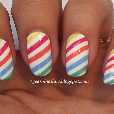 Stripes for Easter and/or Spring nail art by Margriet Sijperda