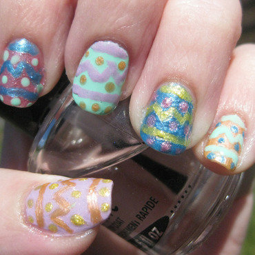 Easter Eggs nail art by Andi