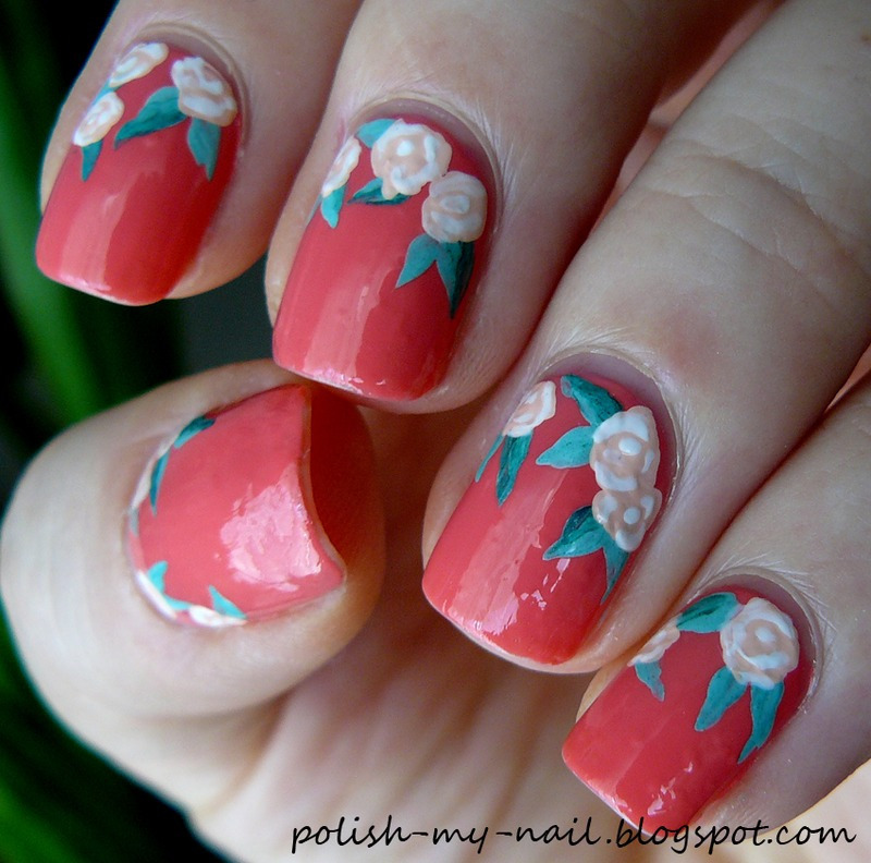 Roses nail art by Ewlyn