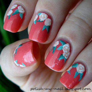 Roses nail art by Ewlyn