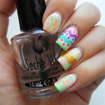 Pastel Neon Easter Egg nail art by Lisa Yabsley