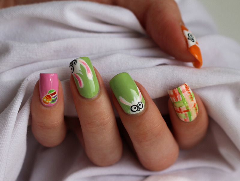 Easter Bunnies nail art by Yue