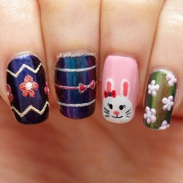 Easter Eggs & Easter Bunny nail art by Yen
