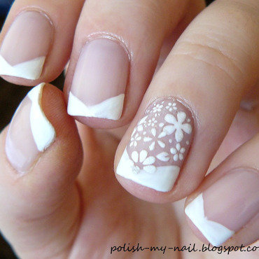 Chevron french   flowers manicure 2 thumb370f