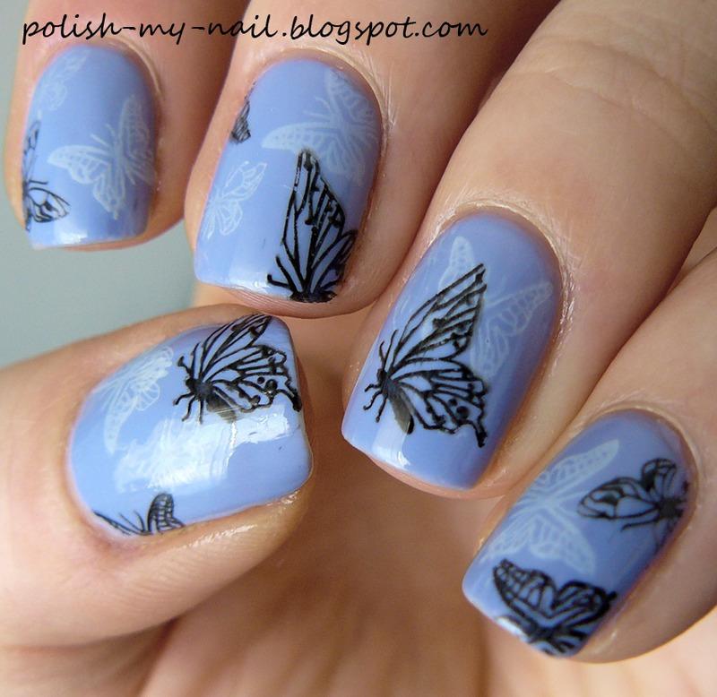 Butterflies nail art by Ewlyn