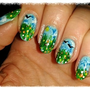 spring in my head nail art by Nina's nails