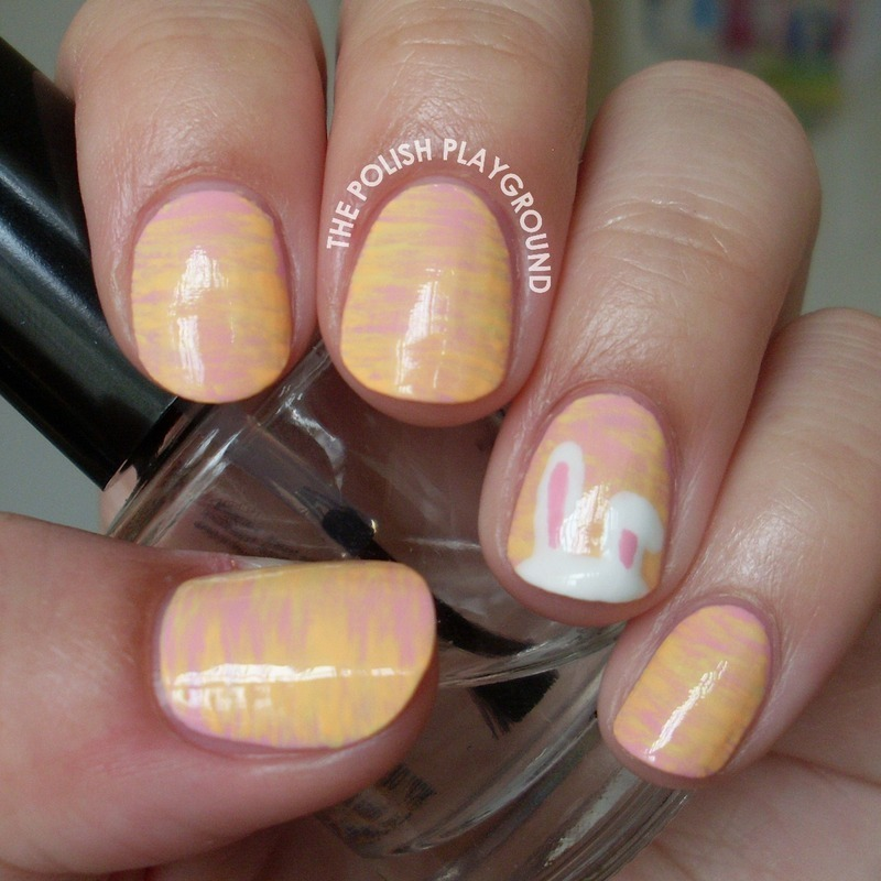 Pastel Haze with Easter Bunny Ears nail art by Lisa N