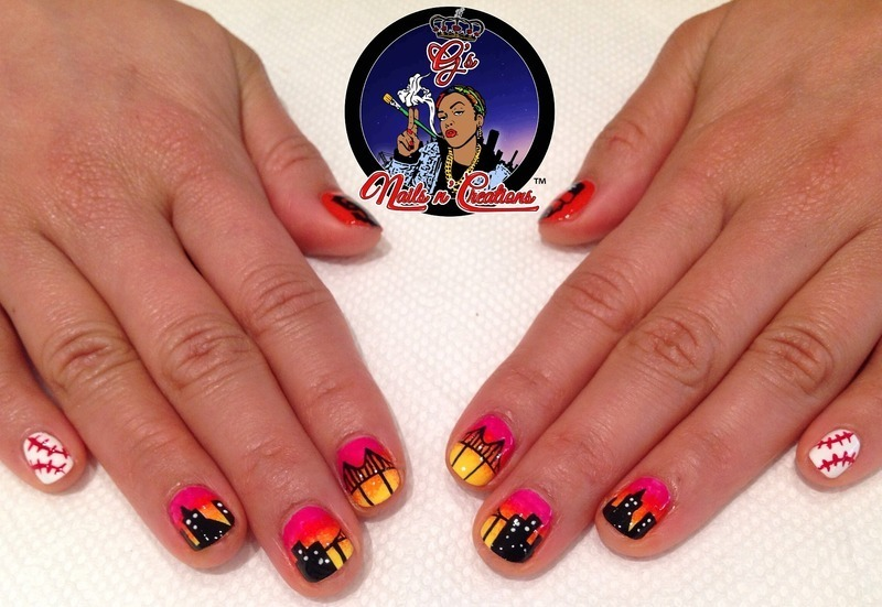 SF Giants Sunset nail art by G's Nails N' Creations