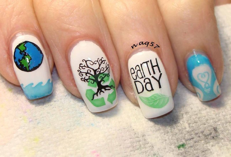 Conserve Water, Air & Energy nail art by Nora (naq57)