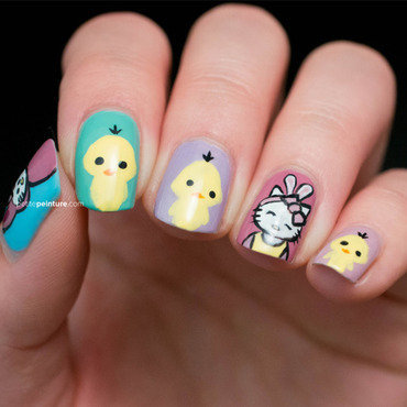 Easter Hello Kitty & Chicks nail art by Petite Peinture