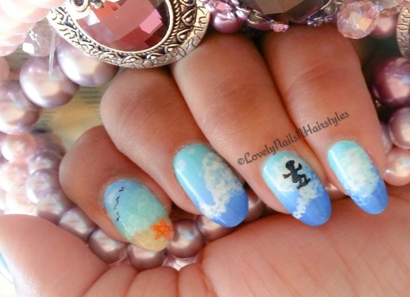 A Day @ The Beach nail art by Lovely Mishra