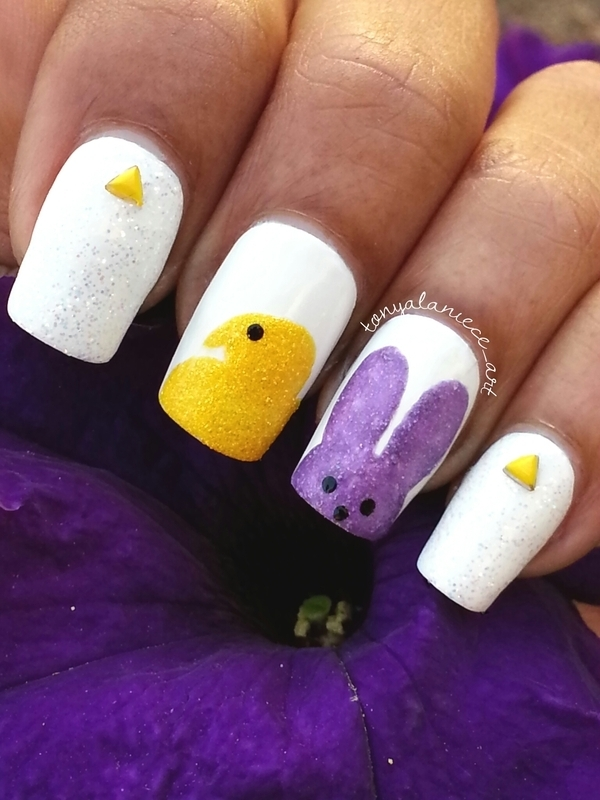 Peeps  nail art by Tonya