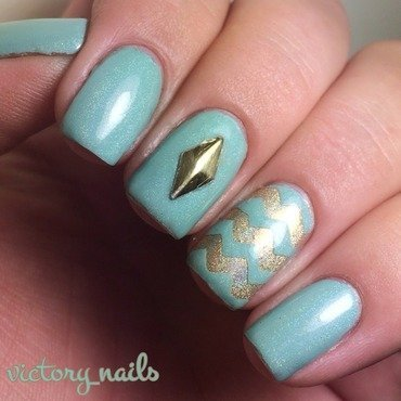 Mint & Gold Chevrons nail art by Nicole