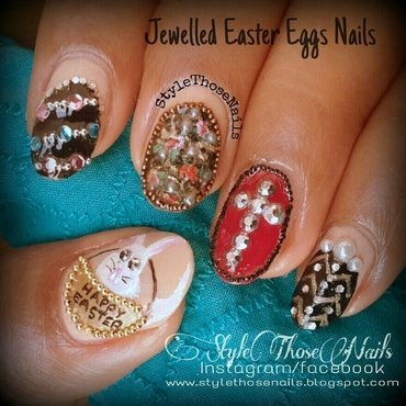 Jewelled Easter Eggs Manicure nail art by Anita Style Those Nails