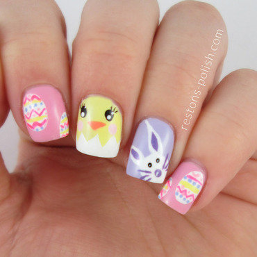 Easter nails nail art by Restons polish
