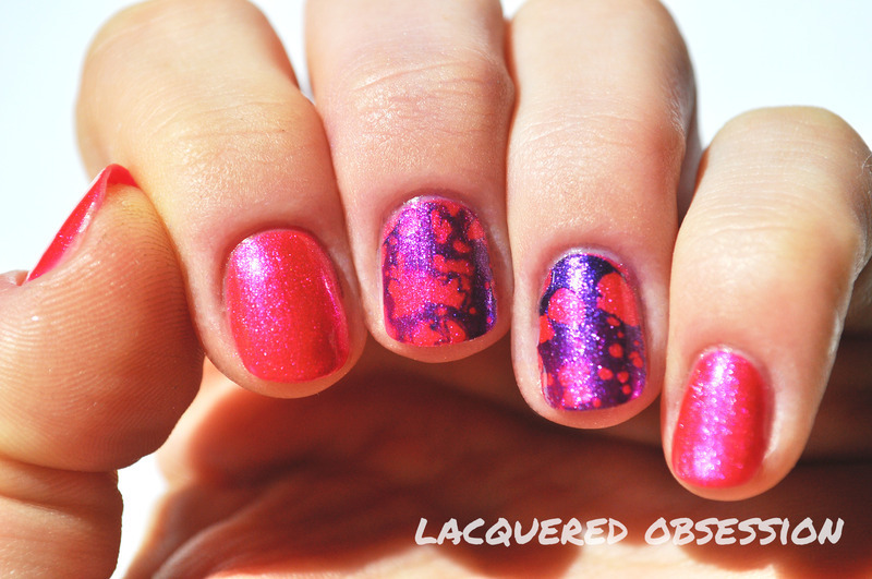 Pink 'n' purple waterspotted nail art by Lacquered Obsession