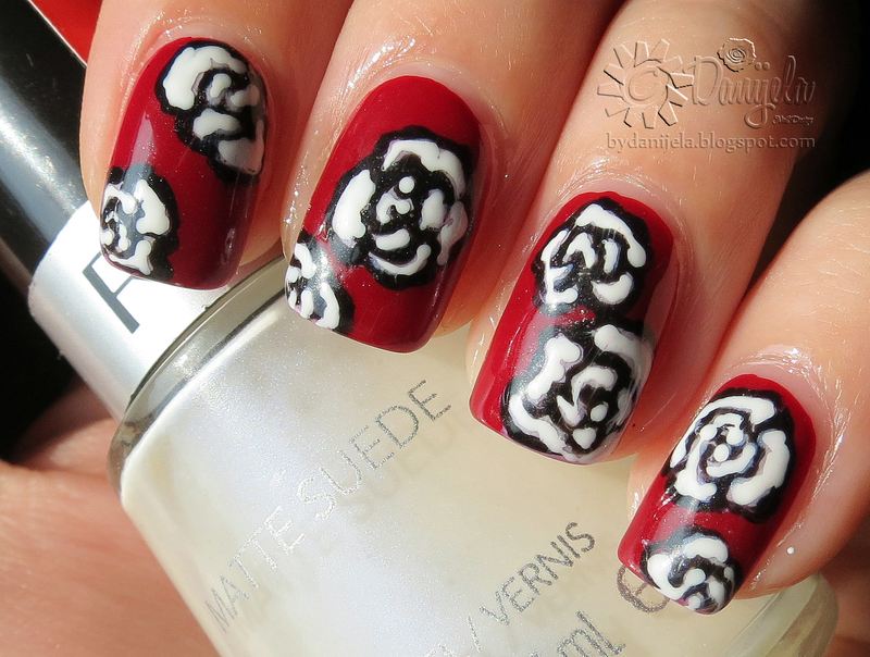Bordeaux manicure with roses nail art by bydanijela